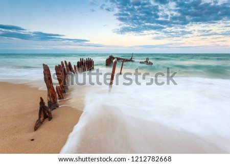 The SS Dicky shipwreck at Dicky Beach on the Sunshine Coast, Queensland, Australia. #1212782668