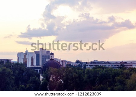 The city of Chisinau is photographed from above at sunset, Moldova #1212823009