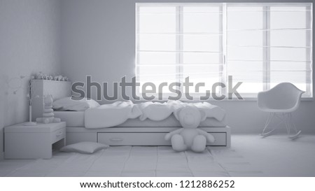 Total white project of modern child bedroom with single bed, toys and panoramic window, contemporary interior design, 3d illustration #1212886252