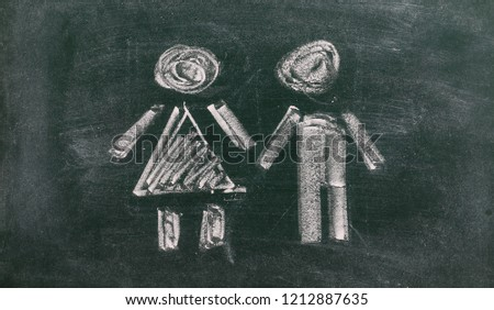 Man and woman door symbol drawn on chalkboard, blackboard background and texture