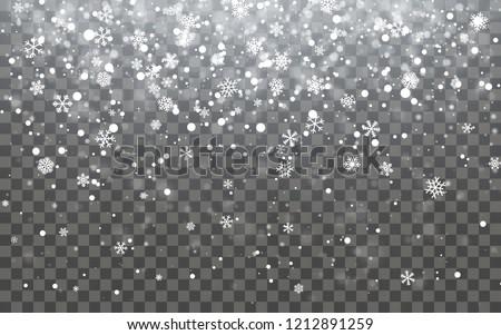 Christmas snow. Falling snowflakes on dark background. Snowfall. Vector illustration.