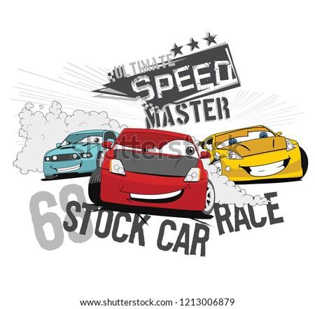 Vector Cartoon Car Illustration. Ready To Print For Boys Wear