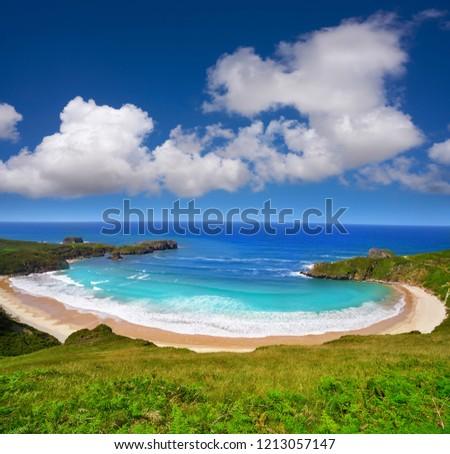 Torimbia beach in Asturias near Llanes of Spain #1213057147