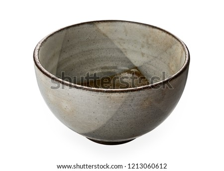 Vintage ceramic bowl, Empty brown bowl isolated on white background with clipping path, Side view                             #1213060612