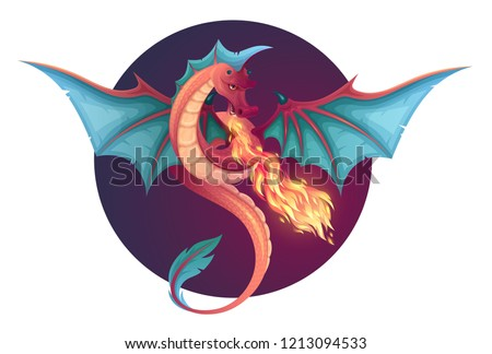 Fire breathing flying dragon. Vector illustration