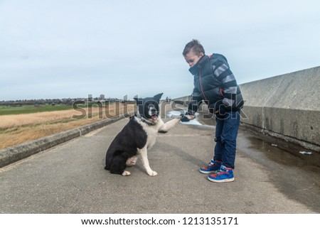 A handsome little boy with ADHD, Autism, Aspergers Syndrome walking along a sea wall with his loyal dog, border collie on a cloudy windy day in Holland on Sea, Clacton on sea, Essex  #1213135171