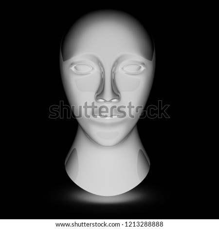 Head in the black background. 3D Illustration. #1213288888
