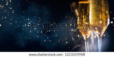 Happy New Year 2019! Christmas and New Year holidays background, winter season.  #1213319908