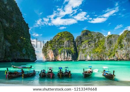 Maya Bay in Ko Phi Phi Le Island, Krabi Province of Thailand. South East Asia. #1213349668