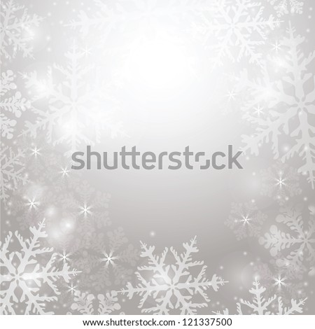 Elegant Christmas background with snowflakes and lighting space for your text