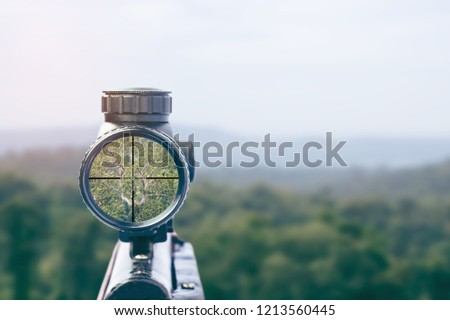 rifle target view on Natural Background. Image of a rifle scope sight used for aiming with a weapon #1213560445