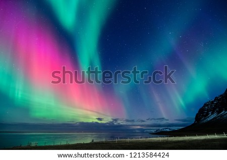 colorful northern light aurora borealis with purple, red, green and blu flames over the sky in iceland  in a beach in  #1213584424