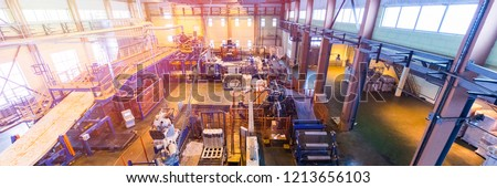 Fiberglass production industry equipment at manufacture background #1213656103