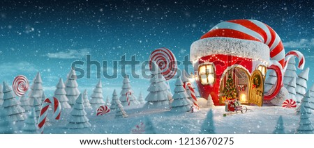 Amazing fairy house in elfs hat decorated at christmas in shape of tea cup with opened door and fireplace inside in magical forest. Unusual christmas 3d illustration postcard