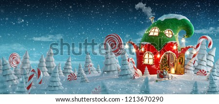 Amazing fairy house decorated at christmas in shape of elfs hat with opened door and fireplace inside in magical forest. Unusual christmas 3d illustration postcard