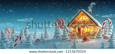 Amazing log house decorated of Christmas lights in magical forest with cartoon spruces and candy canes. Unusual Christmas 3d illustration postcard