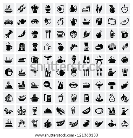 vector black food icons set on gray Royalty-Free Stock Photo #121368133