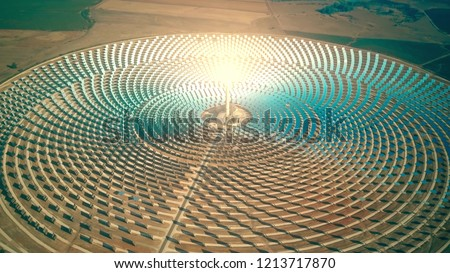 Aerial view of a modern concentrated solar power plant #1213717870