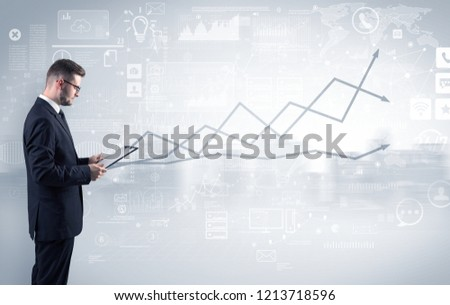 Adviser standing and presenting economical results of a global company #1213718596
