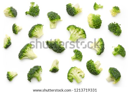 Broccoli pattern isolated on a white background. Various multiple parts of broccoli flower. Top view.  #1213719331