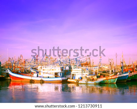 Thai fishing boat in the morning #1213730911