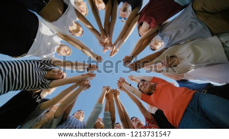 School class collection. The pupils wave their hands and run. College Students Teamwork Stacking Hand Concept. Nineteen friends. #1213731547