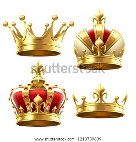 Realistic gold crown. Crowning headdress for king and queen. Royal golden noble aristocrat monarchy red jewel crowns. Monarch jewels royalty luxury coronation 3d vector isolated icons set