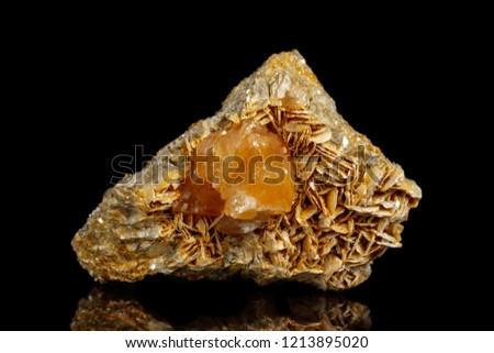 Macro Mineral Stone Sheelit on a black background close up #1213895020