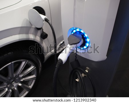 Electric car is charging at charging station at Bangkok International Motor Show 2018 Thailand from 28 Mar 2018 to 8 Apr 2018. #1213902340