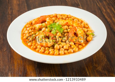 Chickpeas with shrimps #1213933489