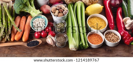 Healthy vegan and vegetarian food. Diet eating concept.  Panorama. Banner #1214189767