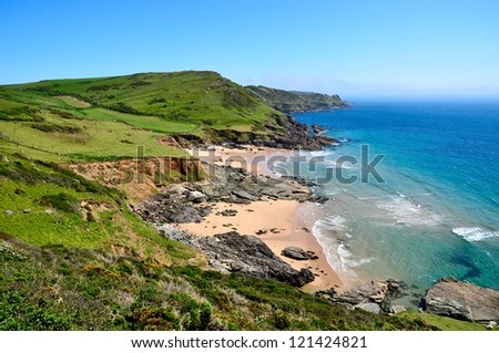 South Devon Coastline - view from Gara Rock to Gammon Head Royalty-Free Stock Photo #121424821