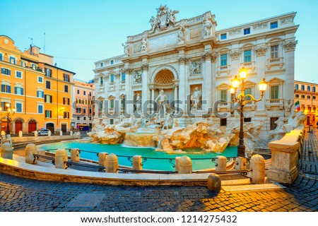 Trevi Fountain (Fontana di Trevi) in the morning light in Rome, Italy. Trevi is most famous fountain of Rome. Architecture and landmark of Rome. #1214275432