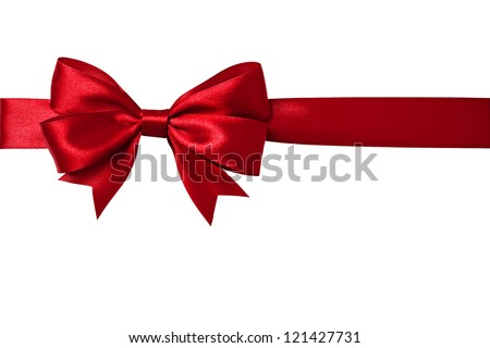 Shiny red satin ribbon on white background