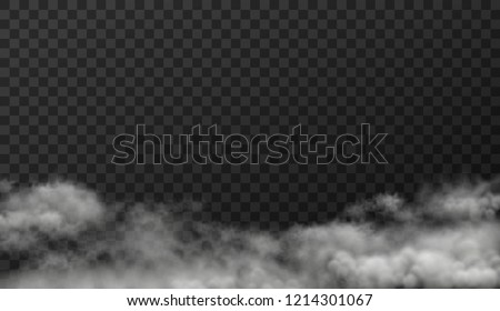 Vector illustration of white smoky clouds  isolated on transparent background #1214301067
