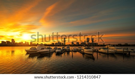 Sunrise over Boston city with boat and harbor, Boston, USA, United stages of America #1214310847