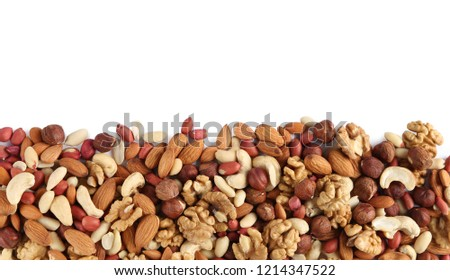 heap of mixed nuts isolated on white background #1214347522