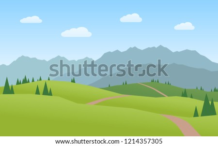 mountains and hills landscape flat design #1214357305