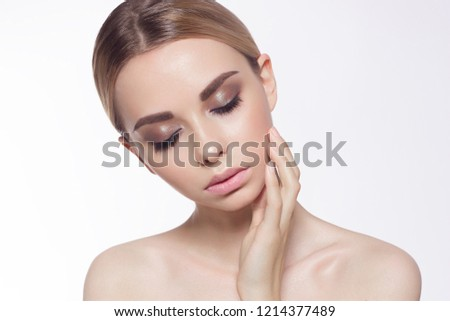 Lips Skin Care. Beautiful Woman With Beauty Face Applying Lip Balsam, Lipbalm On Full Sexy Lips. Portrait Of Smiling Female Model With Soft Skin And Natural Nude Makeup Touching Lips. High Resolution #1214377489