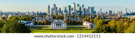 London, UK - September 2018: Panoramic view of the city of London and Greenwich University. #1214412115