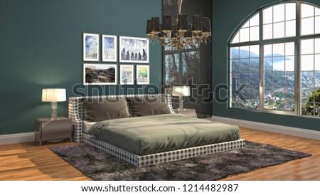 Bedroom interior. 3d illustration #1214482987