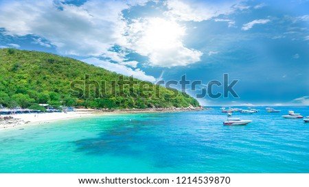 landscape view koh larn island popular tropical beach on a hot weather and fine day in pattaya city to chonburi province of Thailand. #1214539870