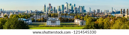 London, UK - September 2018: Panoramic view of the city of London and Greenwich University. #1214545330