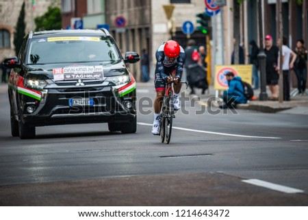 Trento, Italy May 22, 2018: Professional cyclist during the time trial stage from Trento to Rovereto at the Giro D'Italia 2018. #1214643472
