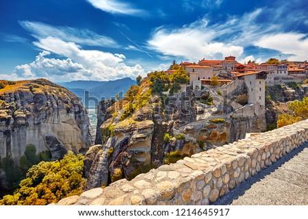 The Great Monastery of Varlaam on the high rock in Meteora, Meteora monasteries, Greece Kalambaka. UNESCO World Heritage #1214645917