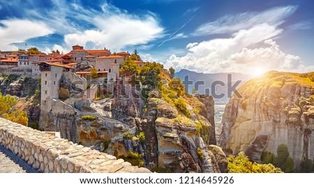 The Great Monastery of Varlaam on the high rock in Meteora, Meteora monasteries, Greece Kalambaka. UNESCO World Heritage #1214645926