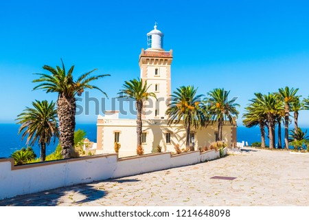 Beautiful Lighthouse of Cap Spartel close to Tanger city and Gibraltar, Morocco in Africa #1214648098