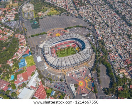 MEXICO CITY - August 27, 2017:Aerial panoramic view of the main Stadium in Mexico City. Sunny and uncrowded afternoon #1214667550