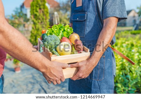 Farmer selling his organic produce on a sunny day. Farmer giving box of veg to customer on a sunny day. Man buying vegetables at farmers market from a handsome farmer #1214669947