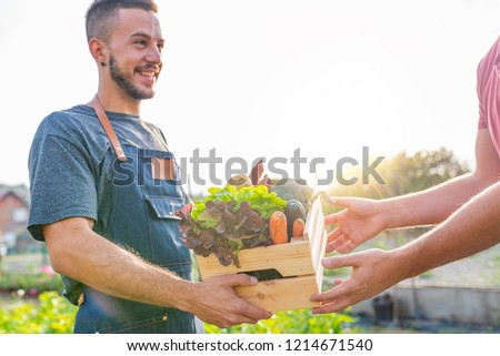 Farmer selling his organic produce on a sunny day. Farmer giving box of veg to customer on a sunny day. Man buying vegetables at farmers market from a handsome farmer #1214671540